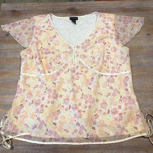 Lane Bryant Blouse SZ 22/24 Floral Pastel